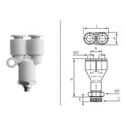 Przyłącze wtykowe trójnikowe Y metryczne/GZ BSPP O-RING