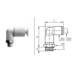 Przyłącze wtykowe kątowe z gwintem zewnętrznym BSPP i Metryczny O-RING