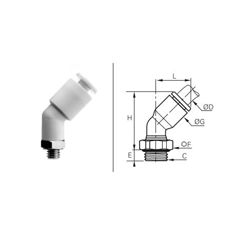 Przyłącze wtykowe kątowe 45° z gwintem zewnętrznym BSPP O-RING