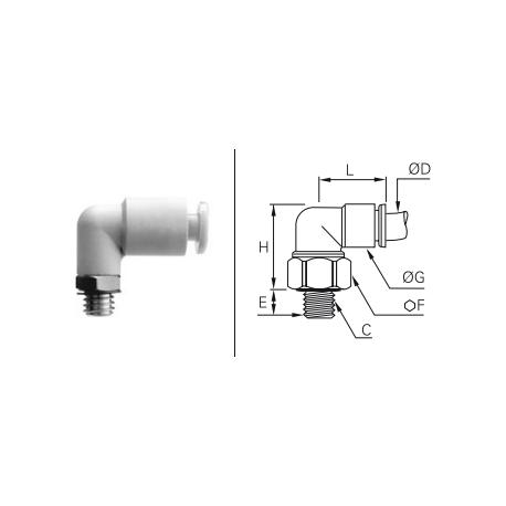 Przyłącze wtykowe kątowe z gwintem zewnętrznym z zaworem BSPP i Metrycznym