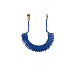 Węże spiralne z poliuretanu o wysokiej wytrzymałości, zakończone szybkozłączem i króćcem NW 7,6 stalowym