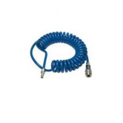 Węże spiralne poliuretanowe o wysokiej wytrzymałości, zakończone bezpiecznym szybkozłączem i króćcem  NW 7,6 z mosiądzu