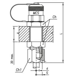 Złącze pomiarowe proste GZ 16x2,0 / GZ metryczny grodziowy ze stożkiem 24°