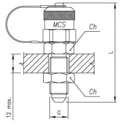 Złącze pomiarowe proste GZ 16x2,0 / GZ JIC grodziowy ze stożkiem 37°