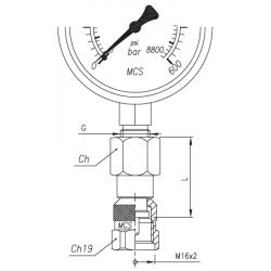 Złącze pomiarowe proste GW calowy pod manometr / GW 16x2,0