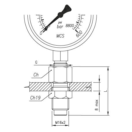 Złącze pomiarowe proste GW calowy pod manometr / GZ 16x2,0 grodziowy