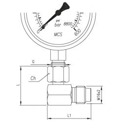 Złącze pomiarowe kątowe 90° GW calowy pod manometr / GZ 16x2,0