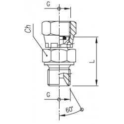 Złącze proste z nakrętką GW calowy pod manometr / GZ calowy ze stożkiem 60°