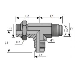 Trójnik niesymetryczny z nakrętką JIC-UNF TMJ MOU B